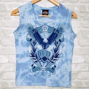 Harley Davidson Tie Dye Sleeveless Eagle Shirt - M